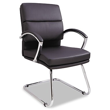 Alera® Neratoli Series Slim Profile Soft Leather Guest Chair, Black