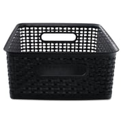 Advantus® Plastic Medium Weave Bins, Black, 2/Pack