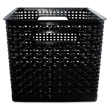 Advantus® Plastic Large Weave Bins, Black, 2/Pack