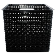 Advantus® Plastic Large Weave Bins, Black, 2/Pack