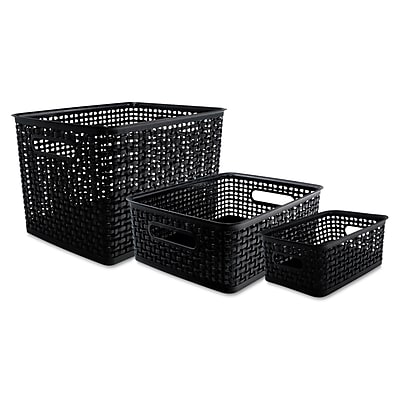 Advantus Plastic Weave Bins, Black, 3/Pack AVT40329