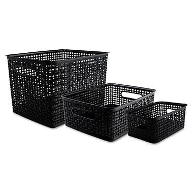 Advantus® Plastic Weave Bins, Black, 3/Pack