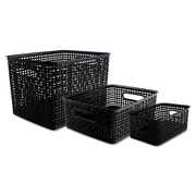 Advantus® Plastic Weave Bins, Black, 3/Pack
