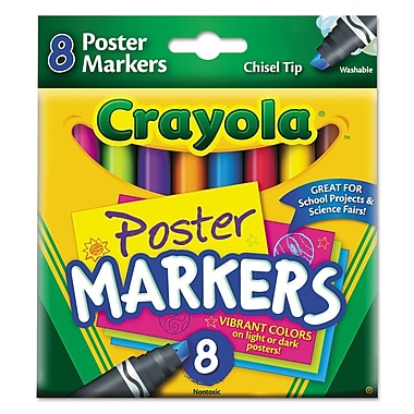 Crayola® Washable Poster Markers, Chisel Tip, Assorted, 8/Set