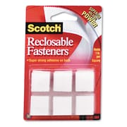 "3M™ Scotch® 7/8"" x 7/8"" Square Reclosable Fastener, White, 24/Pack"