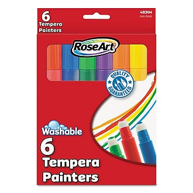 RoseArt® 10 ml Washable Tempera Paint, Assorted, 6/Set