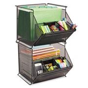 Safco® Onyx Stackable Mesh Storage Bin, Sturdy Black