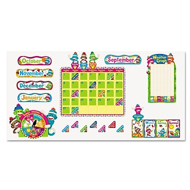 Trend Enterprises® Sock Monkeys in.Calendarin. Bulletin Board Set, Grade Prek-6