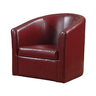 COASTER Vinyl Swivel Accent Chair, Red (902099)