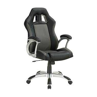 Coaster High-Back Faux-Leather Task Chair, Fixed Arm, Black/Gray