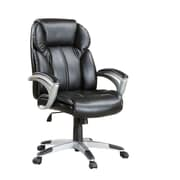 COASTER 800038 Faux Leather High-Back Task Chair with Fixed Arms, Black/Gray