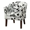 Coaster® Floral Fabric Upholstered Transitional Accent Chair, Black/White