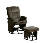 Coaster® Plush Casual Reclininer Glider With Matching Ottoman, Chocolate
