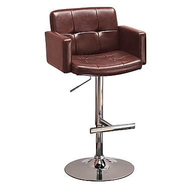 Coaster® 29in. Steel Mid Back Upholstered Bar Stool With Adjustable Height, Brown/Chrome
