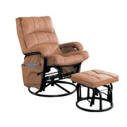 Coaster® Micro Fiber Glider Recliner With Matching Ottoman, Brown