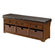 Coaster® 20in. x 16in. x 60in. Wood Large Storage Bench With Baskets, Medium Brown