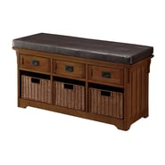 Coaster® 20in. x 16in. x 42in. Wood Small Storage Bench With Baskets, Medium Brown