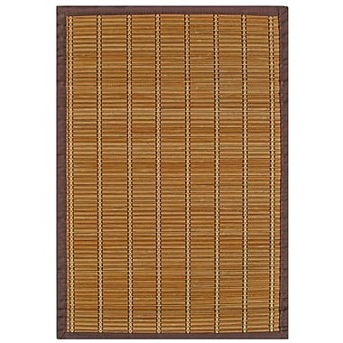 Anji Mountain Pearl River Brown & Gold Area Rug Bamboo 4' x 6' Transitional