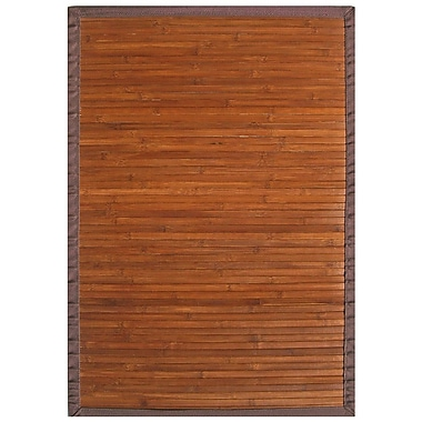 Anji Mountain Contemporary Chocolate Brown Area Rug Bamboo 5' x 8' Transitional