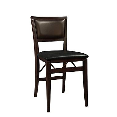 Linon Keira Vinyl Padded Folding Chair, Dark Brown
