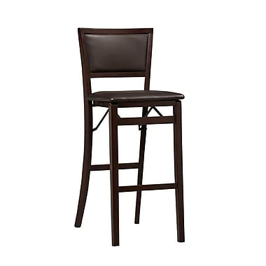Linon Keira Vinyl Padded Back Folding Bar Stool, Dark Brown