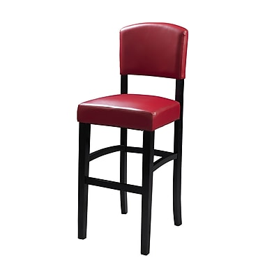Linon Monaco Vinyl Padded Bar Stool, Dark Red