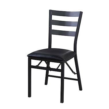 Linon Arista Leatherette Folding Chair, Black