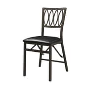 Linon Arista Ovals Leatherette Folding Chair, Black