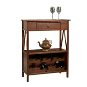 Linon Titian 45.98 Wood Wine Cabinet, Antique Tobacco