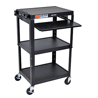 Luxor Adjustable Height Steel Cart with Pullout Keyboard Tray, 25