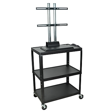 Luxor® Extra Large Steel Adjustable Height AV Cart With LCD Mount, Black