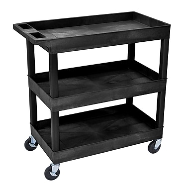 Luxor® E Series 3 Shelves Utility Tub Cart, Black