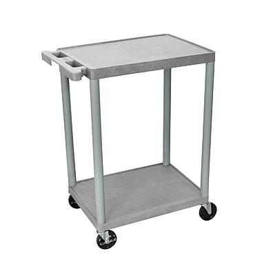 Luxor® HE 2 Shelves Utility Cart, Gray