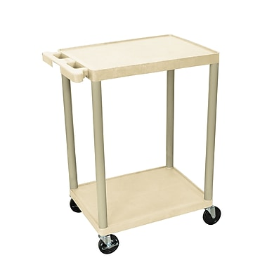 Luxor® HE 2 Shelves Utility Cart, Putty