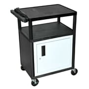 "Luxor® LP 3 Shelves 34"" Mobile Presentation AV Cart With 3 Outlet Electric, Black"