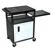 Luxor® LP 3 Shelves Mobile Presentation AV Cart With Side Pull-Out-Shelf, Black