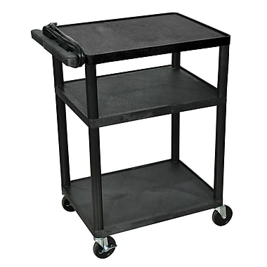 Luxor® 34in.(H) LP 3 Shelves Mobile Presentation AV Cart With 3 Outlet Electric, Black