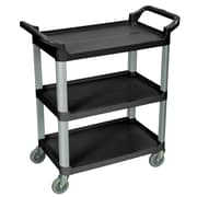 Luxor® 3 Shelves Dual Handle Serving Cart, Black