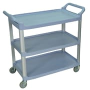 Luxor® 3 Shelves Dual Handle Large Serving Cart, Gray