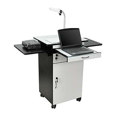 Luxor® H. Wilson's Wood Multi-Media Workstation Cart, Black/Gray