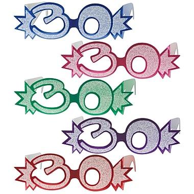 Lunettes « 30 » avec paillettes, taille quasi universelle, 25/paquet