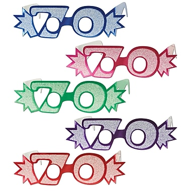 Beistle 70 Glittered Foil Eyeglasses, Assorted, 25/Pack