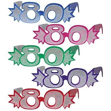 Beistle 80 Glittered Foil Eyeglasses, Assorted, 25/Pack