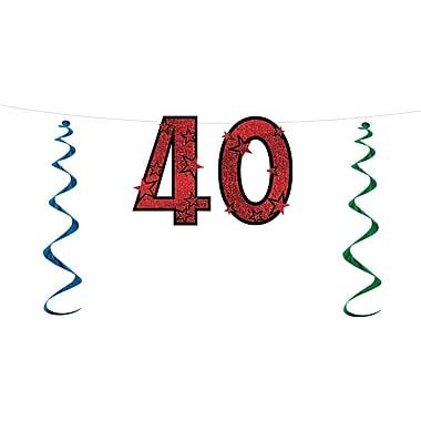 Banderole scintillante « 40 », 15 po x 7 pi, 3/paquet
