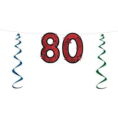 Banderole scintillante « 80 », 15 po x 7 pi, 3/paquet