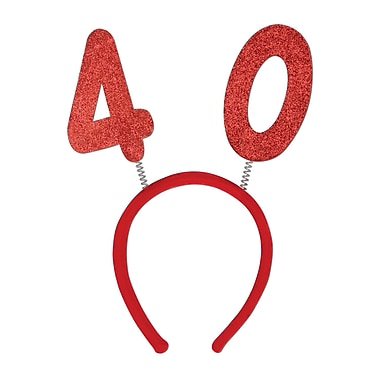 Boppers scintillants 40e, taille universelle, rouge, 3/paquet