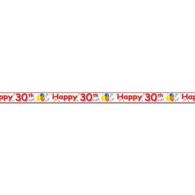 Banderole «Happy 30th», 3 po x 20 pi, 5/paquet
