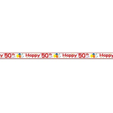Banderole «Happy 50th», 3 po x 20 pi, 5/paquet