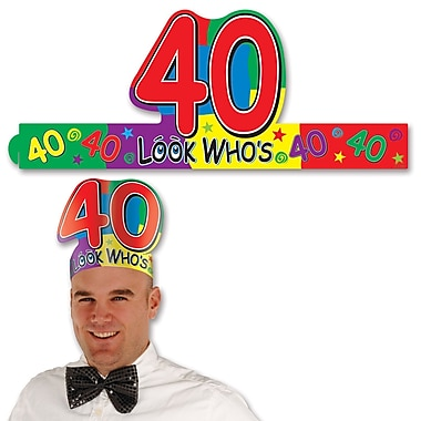 Look Who's 40 Headband, One Size Fits Most, 8/Pack