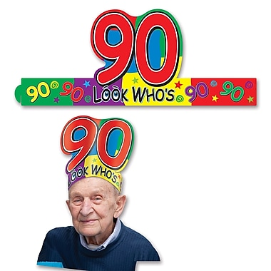 Look Who's 90 Headband, One Size Fits Most, 8/Pack